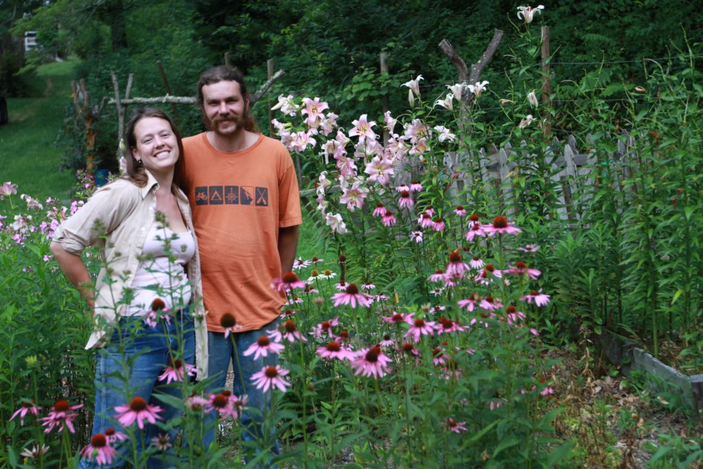 Sara and Dustin Sustainabillies pink daisy and lily garden