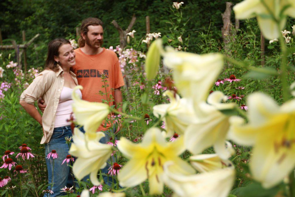 Sara and Dustin Sustainabillies white lily center flower garden