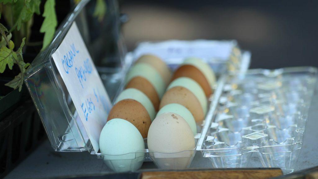 Farmers market table organic pasture raised eggs