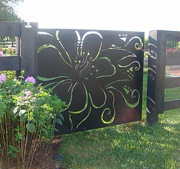 custom welded gate with flower