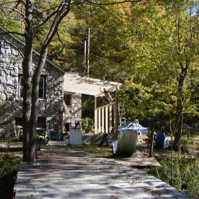 building porch on stone house